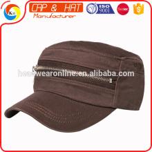 2016 chapeaux militaires de style de mode chapeau militaire sport personnalisé avec zip
