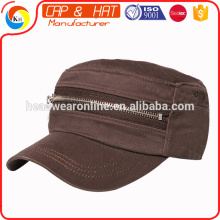 2016 fashion style military caps custom sport military hat with zip