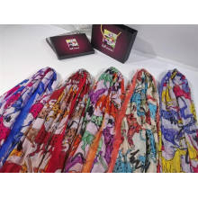 custom digital print scarf small MOQ polyester fabric printing colorful animal horse pattern