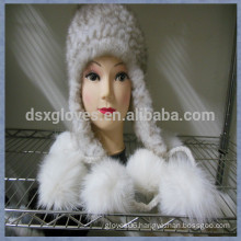 Smart Lady White Mink Fur Caps With Balls