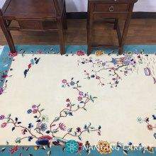 4'x6' Blue Beige Wool Rug Oriental Carpet