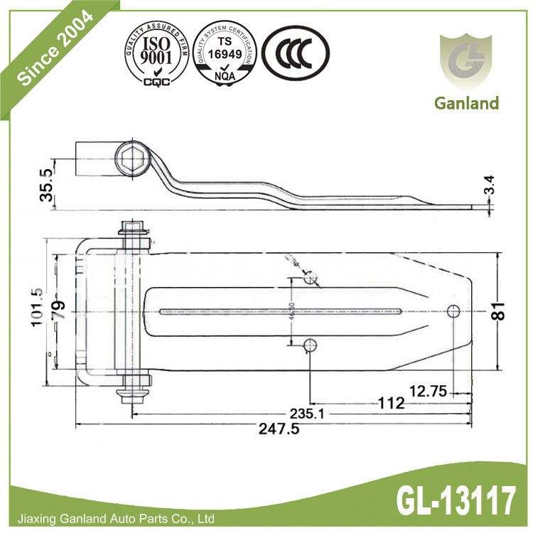 Large Rear Truck Door Hinge gl-13117