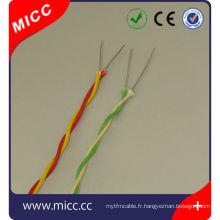 Câble de thermocouple torsadé de fibre de verre de type KX- 2x20 AWG, câble de sonde de température de fibre de verre de type K