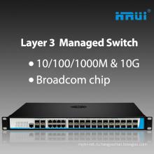 24 порта SFP слой 3 гигабита управляемый переключатель волокна с 4*портами 10g SFP для
