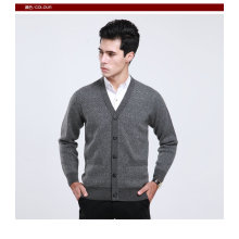 Yak Wool / Cachemire V Neck Cardigan Pull à manches longues