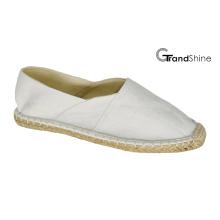 Женщин вскользь Espadrille белый холст плоские туфли