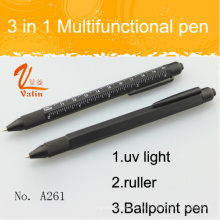 Popular 3 en 1 pluma herramienta multifuncional con luz UV