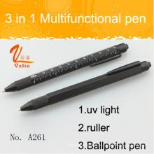 Caneta de ferramenta multifuncional popular 3 em 1 com luz UV