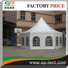 2014 Luxury white lining outdoor pagoda hexagon marquee castle tent 6x12m