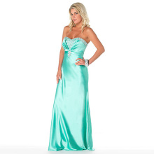 Gracefull Sheath Column Sweetheart Neckline Strapless Floor-length Elastic-satin Beading Lace-up Evening Dress