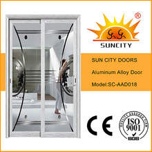 Puerta corrediza de doble panel de vidrio de aluminio