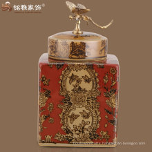 Chinese antique imitation flower printing square ceramic vase with cover