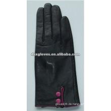 Schaf Skin Leder Handschuh mit Knopf am Handgelenk