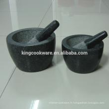herbes naturelles épices outils mortier et pilon de granit / marbre pour la vente d'usine de meulage