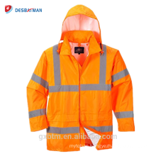 China Wholesale Custom Design Hooded Hi Vis ANSI Waterproof Rain Jacket High Visibility Reflective Safety Workers Hood Raincoat