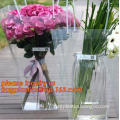 Clear pp plastic flower carry bag, shopping tote bag, flower gift wrapping pp plastic bag with handles, bags packaging with ribb