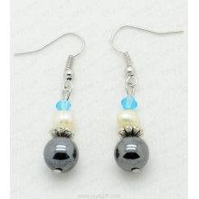Hematite crystal earring