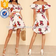 Rüschen aus Schulter Blumendruck Crop Top mit hohen niedrigen Minirock Herstellung Großhandel Mode Frauen Bekleidung (TA4056SS)