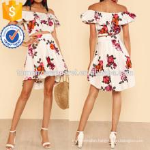 Ruffle Off Shoulder Flower Print Crop Top With High Low Mini Skirt Manufacture Wholesale Fashion Women Apparel (TA4056SS)