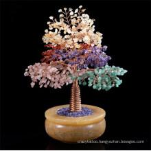 Colorful Rose Quartz Aventurine Citrine Peridot Crystal Gemstone Amethyst Beads Tree Home Decor Office Gift