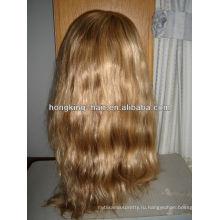 блондинка человеческих волос полный парик шнурка для белых женщин