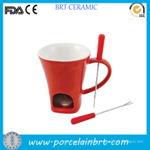 Unique Red Ceramic Fondue Mug with Fork