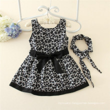 Spring Autumn Kids Wear Girls Black Leopard Print Boutique Dresses For School Children Fashion Clothes