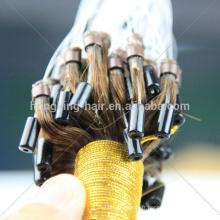 avec la ligne je pointe les cheveux 100% remy humain double dessiné micro boucle cheveux