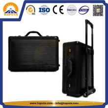 Caixa do trole bagagem mala alumínio grande preto (HP-3205)