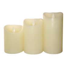LED Flammeless Pillar Candles in Cream