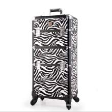 The Black White Zebra Leather Cosmetic Case (hx-q073)