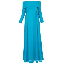 Kate Kasin Sexy Womens Maternité Long Sleeve Off Shoulder Long Maxi Sky Blue Maternité Robe KK000677-2