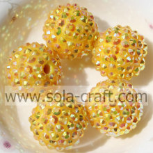 20*22MM Sparking Resin Rhinestone Yellow AB Beads For Necklace Making,