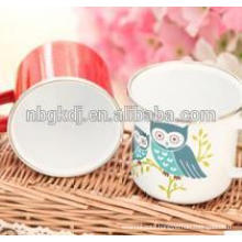 Enamel mug with night owl decals
