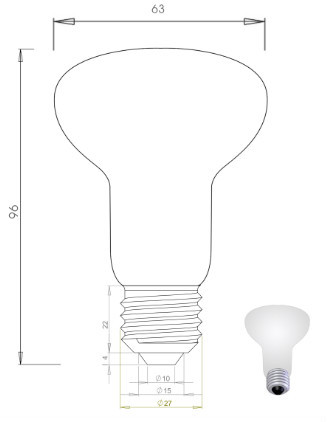 LED Filament Light R63 8W