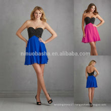 Sexy Online Prom Dresses Shopping 2014 Black Beaded Top Bodice Royal Blue Chiffon Skirt Low Back A-Line Short Party Gown NB0691