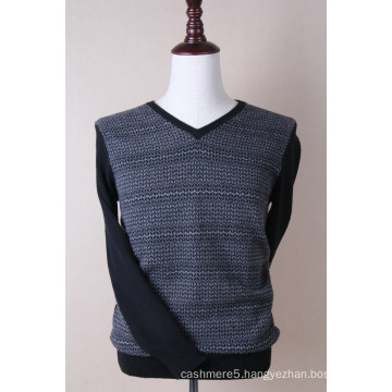 Men′s V Neck Cashmere Silk Thread Pullover