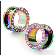 Unique rainbow piercing ear tunnel