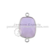 Conectores de bisel de pedras preciosas semi-preciosas feitas à mão 925