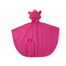 Yj-6080 Cute Pink PVC Disposable Children′s Totes Rain Poncho Raincoats for Girls