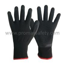 13G Schwarzes Polyester Shell Schwarzes Crinkle Latex Palm Tauchhandschuhe