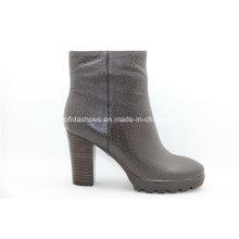 Einfache Komfort High Heels Plattform Frauen Leder Stiefel