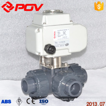 regulating dc 24v 3 way motorized pvc ball valve