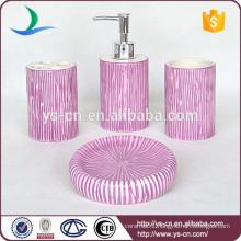 2015 Purple Vertical Stripes Ceramic 4pcs Bathroom Accessories Set