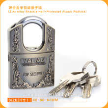 Europe Market Good Quality Zinc Alloy Shackle Half Protected Atomic Key Padlock