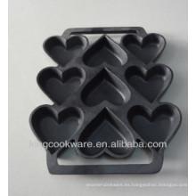 molde de pastel en forma de preseasoned de hierro fundido