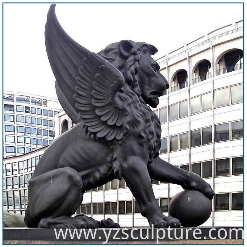 life size winged lion sculpture