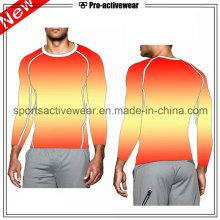 OEM сжатия одежды спорта работает с длинными рукавами мужчин T Shirt