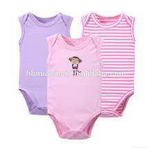 Mameluco del bebé en blanco del algodón de la impresión a rayas llano del onesie de la manga corta de las muchachas al por mayor con el color rosado y púrpura