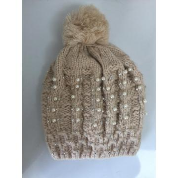 Bead Thick Lining Jacquard Winter Knitting  Hat
